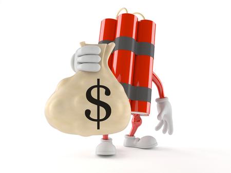 Dynamite character holding money bag isolated on white background