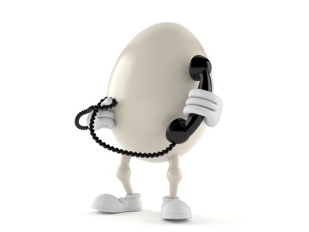 Egg character holding handset isolated on white background