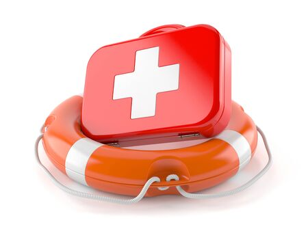 First aid kit with life buoy isolated on white background