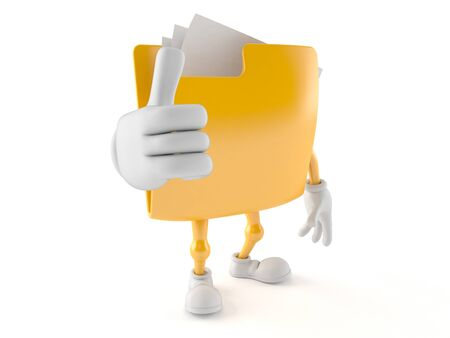 Folder character with thumbs up isolated on white background Stock Photo