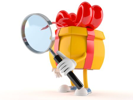 Gift character looking through magnifying glass isolated on white background