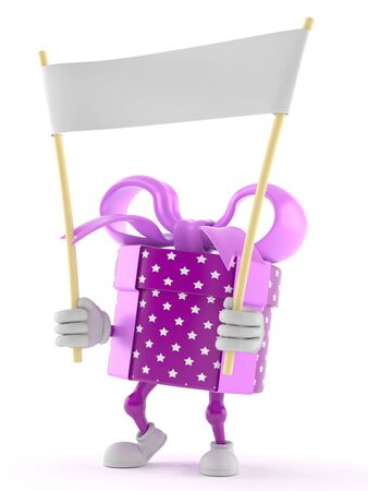 Gift character holding banner isolated on white background Stock Photo