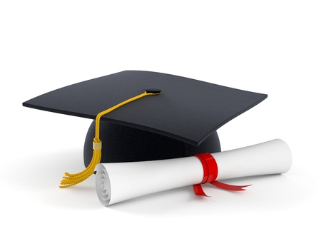 Graduation hat with certificate isolated on white background