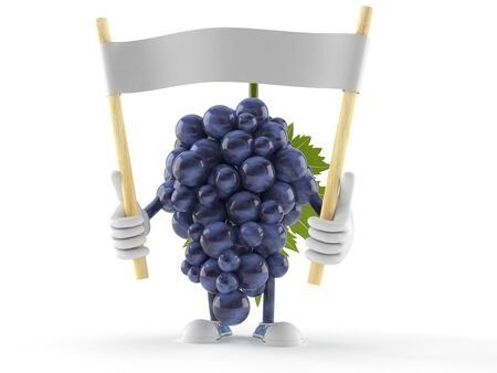 Grapes character holding blank banner isolated on white background