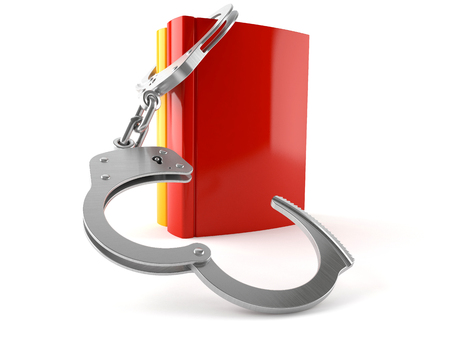 Books with handcuffs isolated on white background Stock Photo