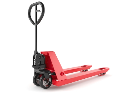 Hand pallet truck isolated on white background