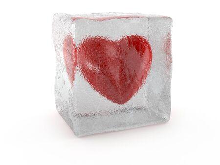 Coeur congelé isolé sur fond blanc Banque d'images - 91747975