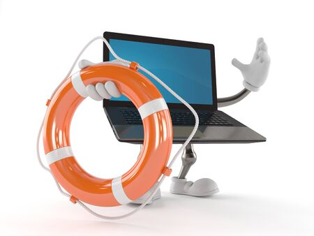 Laptop character with life buoy isolated on white background Stock Photo
