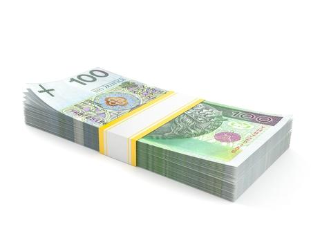 Poolse zloty munt die op witte achtergrond wordt geïsoleerd