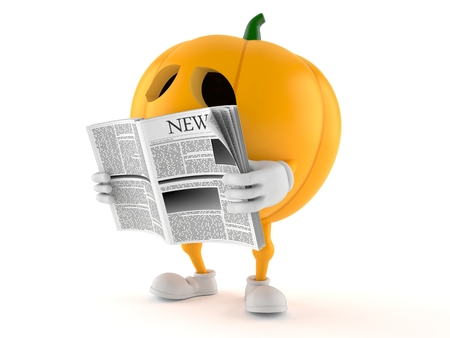 Halloween pumpkin character reading newspaper on white background