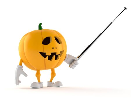 Halloween pumpkin character holding pointer stick isolated on white background
