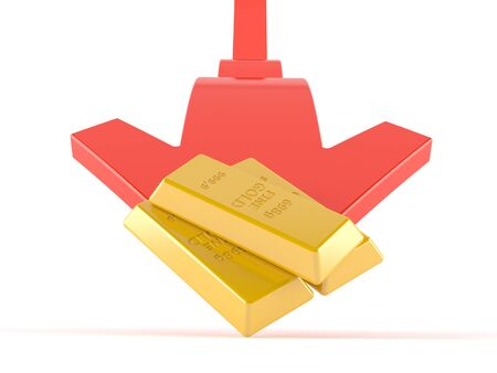 Gold ingots with red arrow isolated on white background Stock Photo