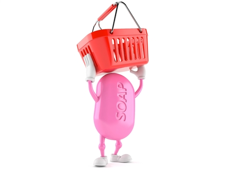 Soap character holding shopping basket isolated on white background Stock Photo