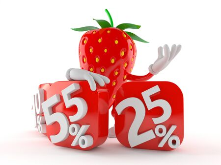 Strawberry character with percent symbols isolated on white background
