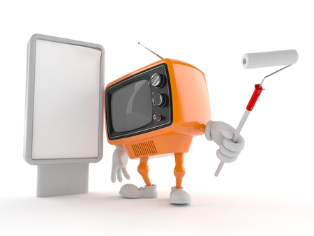 Retro TV character with blank billboard isolated on white background