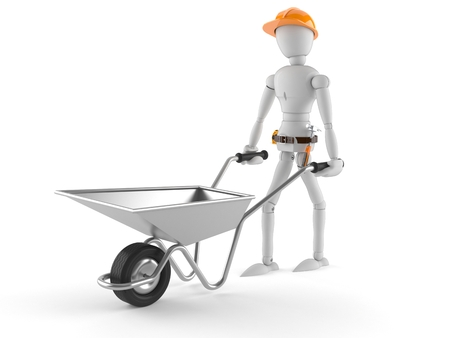 Manual worker with wheelbarrow isolated on white background
