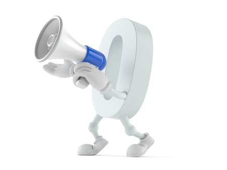 Zero character speaking through a megaphone isolated on white background Stock Photo