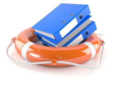 Ring binders with life buoy isolated on white background