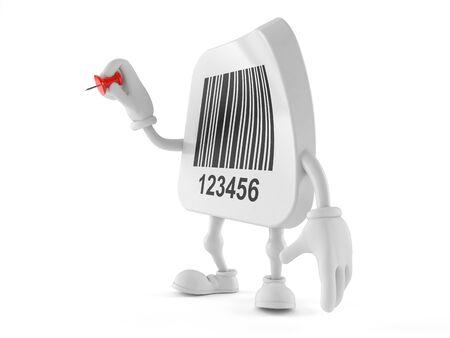 Barcode character holding thumbtack isolated on white background