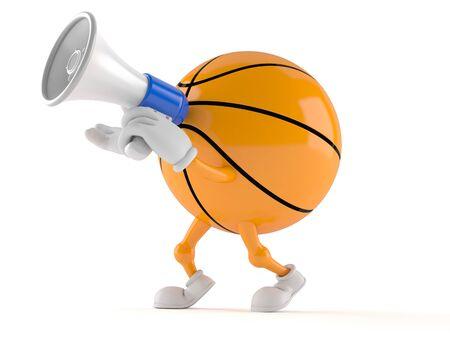 白い背景に隔離されたメガホンを通して話すバスケットボールのキャラクター
