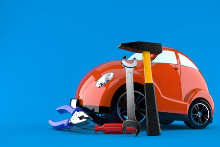 Car with work tools isolated on blue background Stock Photo