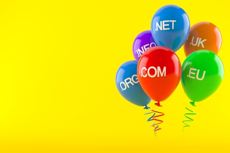 Domains with balloons isolated on orange background