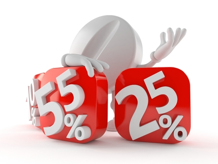 Tablet character behind percentage signs isolated on white background
