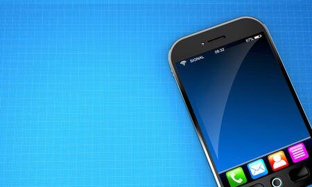 Smart phone on blueprint background Stock Photo