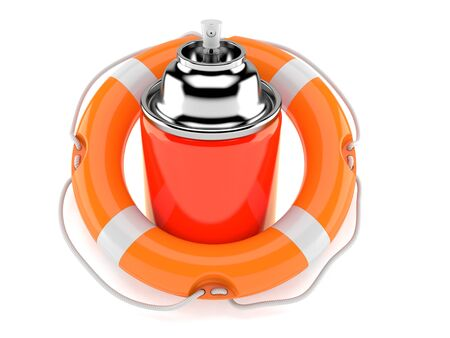 Spray can inside life buoy isolated on white background