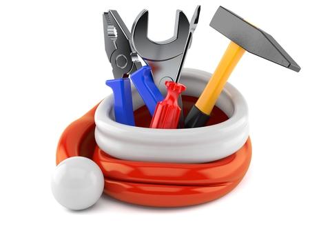 Work tools inside santa hat isolated on white background Stock Photo