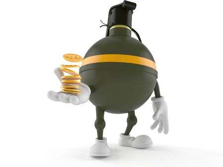Hand grenade character with coins isolated on white background