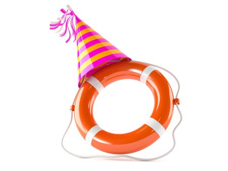 Life buoy with party hat isolated on white background Stockfoto