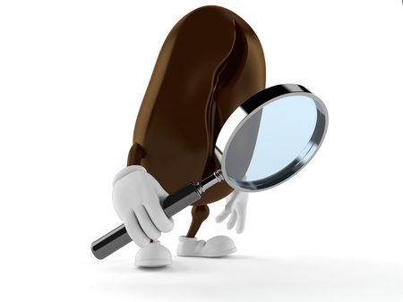 Coffee bean character looking through magnifying glass isolated on white background