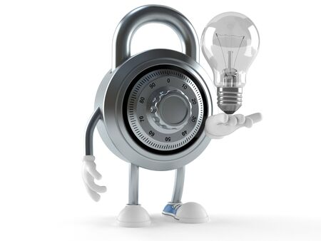 Combination lock character with light bulb isolated on white background