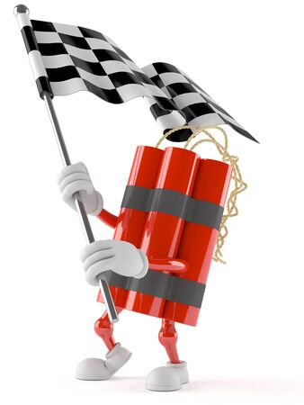 Dynamite character with racing flag isolated on white background