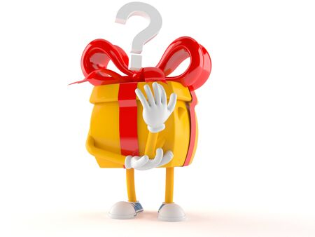Gift character with question mark isolated on white background