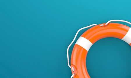 Life buoy on blue background