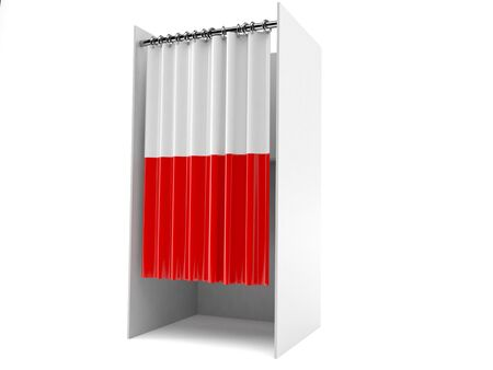 Vote cabinet with polish flag isolated on white background
