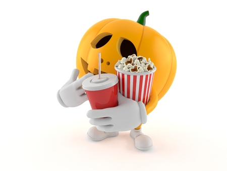 Halloween pumpkin character with popcorn and soda isolated on white background