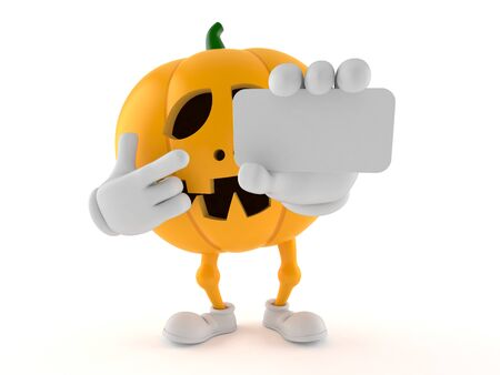 Halloween pumpkin character holding blank business card isolated on white background