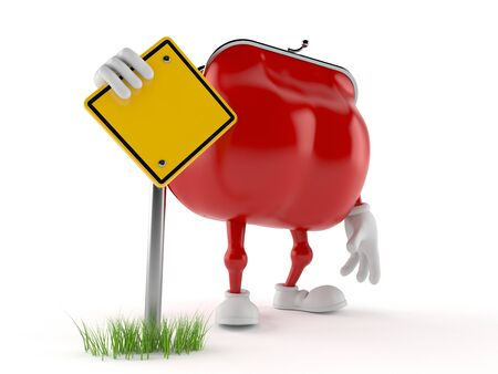 Purse character with blank road sign isolated on white background