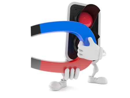Red light character holding magnet on white background