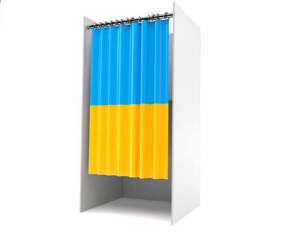 Vote cabinet with ukraine flag isolated on white background