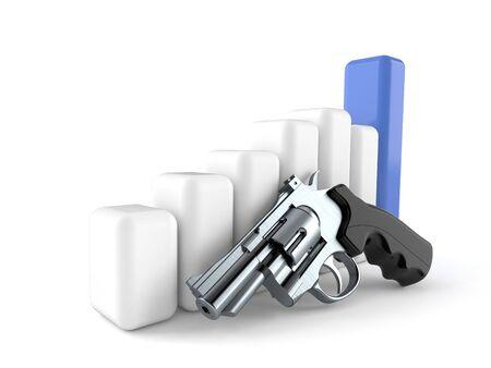 Gun with chart isolated on white background 版權商用圖片