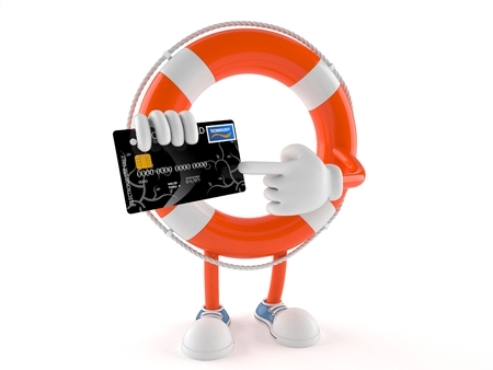 Life buoy character with credit card isolated on white background Stock Photo