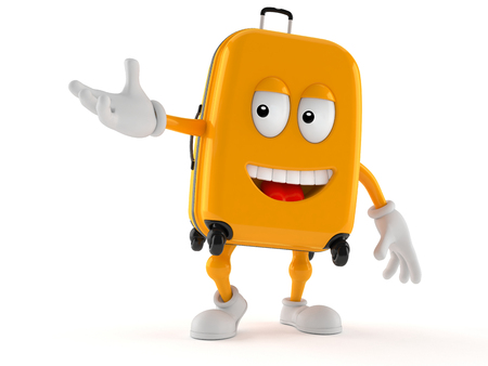 Suitcase character isolated on white background