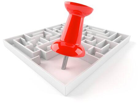 Maze with thumbtack isolated on white background Stock Photo
