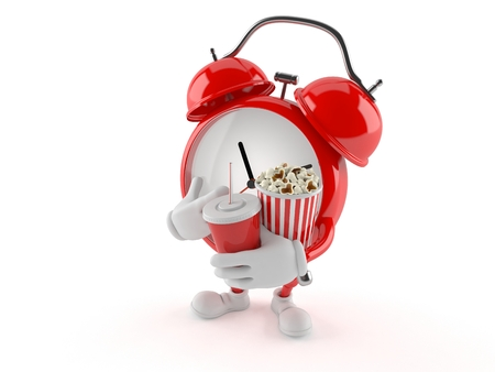 Alarm clock character with popcorn and soda isolated on white background