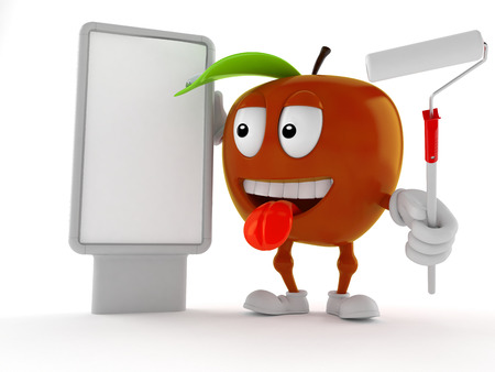 Apple character with blank billboard isolated on white background