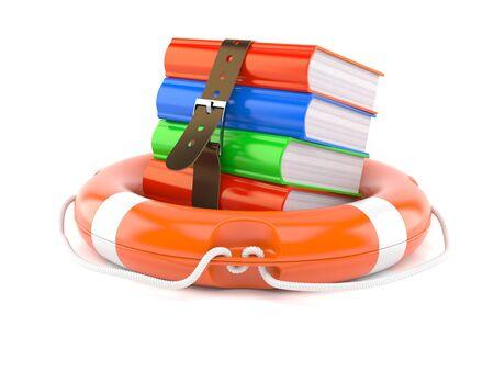 Life buoy with books isolated on white background Stock Photo
